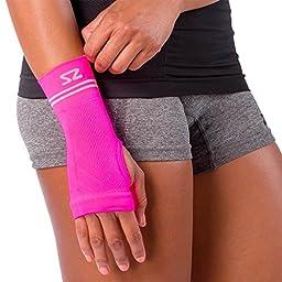 Zensah Compression Wrist Sleeve, Neon Pink, Small