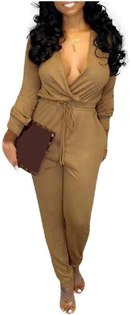 Freedom Womens Solid Color Deep V-Neck Wear to Work Long-Sleeve Jumpsuits