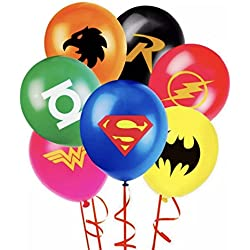 "JUSTICE LEAGUE SUPERHERO EMBLEM PARTY BALLOON PACK 12"" LATEX BALLOONS DC 7 PIECE"