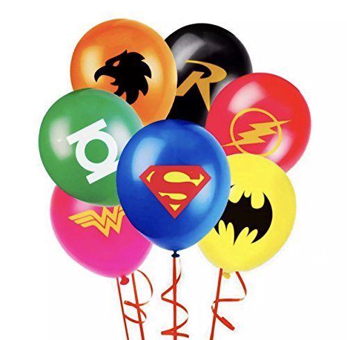 JUSTICE LEAGUE SUPERHERO EMBLEM PARTY BALLOON PACK 12 LATEX BALLOONS DC 7 PIECE
