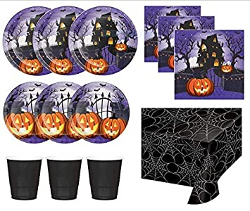 halloween party supplies plates napkins cups table cover haunted house theme for 16 guests