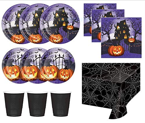 Halloween Party Supplies Plates Napkins Cups Table Cover Haunted House Theme For 16 Guests for $<!--$24.99-->