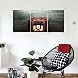 Liguo88 Custom canvas Jukebox Scary Movie Theme Old Abandoned Home with Antique Old Music Box Image Wall Hanging for Bedroom Living Room Petrol Green and Brown