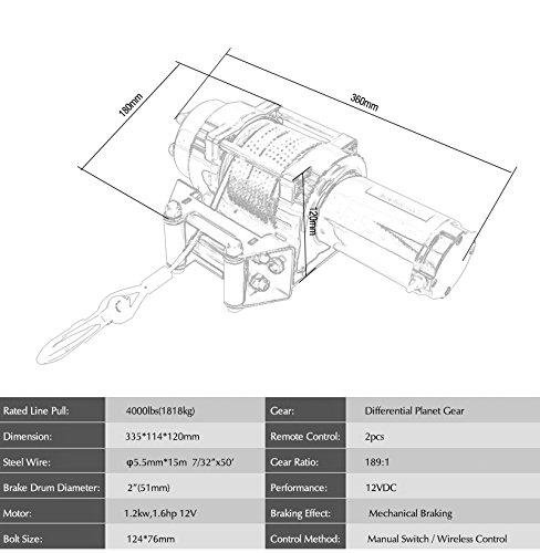 12V 4000lbs ATV Electric Recovery Winch Kit, Wireless Remote Control 12V 4WD ATV UTV Trailer Truck SUV Car by Estink (Image #6)