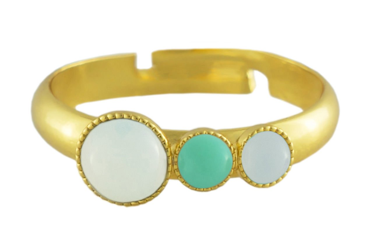 24K Gold Plated Minimalist Ring Adjustable Universal Size Trio Ooo White Opal Moonstone Round Czech Glass Stone Opaque Turquoise Handmade Bo