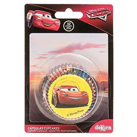 Dekora 339251 Capsulas Cupcakes con Diseño del Personaje de Rayo Mcqueen de Disney Pixar-50 Unidades, Papel, 50
