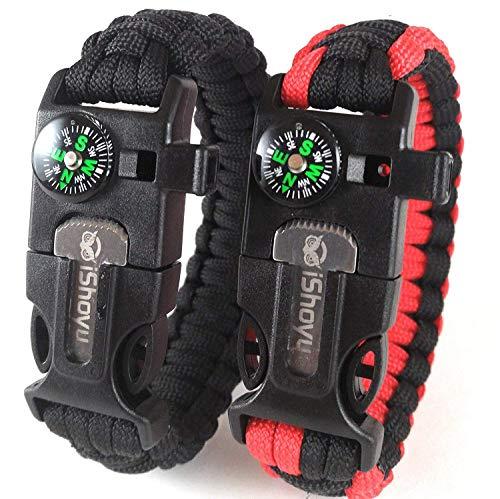 2-PACK Survival Paracord Bracelet, Flint Fire Starter, Loud