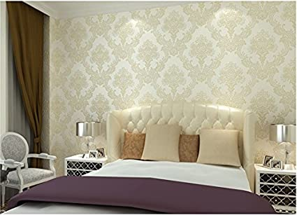 Bloss 3D Wallpaper Bedroom Mural Roll Modern Luxury Embossed Flower Wall  Background Off White