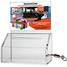 SourceOne Donation Box with Lock – 5-Inch Wide Acrylic Storage Container – Clear Sign Holder