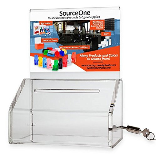SourceOne Donation Box with Lock – 5-Inch Wide Acrylic Storage Container – Clear Sign Holder (Ballot Box)