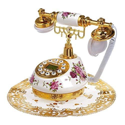 SODIAL(R) Retro Vintage Antique Style Floral Ceramic Home Decor Desk Telephone Phone