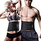 YOUNGDO Waist Trimmer, Fitness ab Slimmer Belt Weight Loss Wrap Belly Fat Burner Low Back Support Waist Trainer for Men and Women, One Size Fits up to 46'' (OK cloth + SBR + Lining)