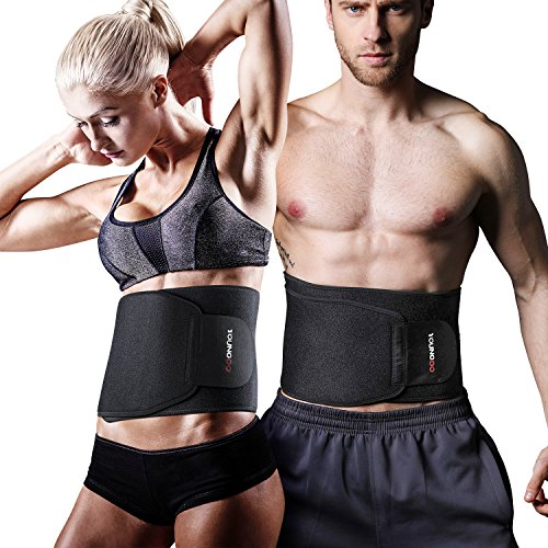 YOUNGDO Waist Trimmer, Fitness ab Slimmer Belt Weight Loss Wrap Belly Fat Burner Low Back Support Waist Trainer for Men and Women, One Size Fits up to 46'' (OK cloth + SBR + Lining) by YOUNGDO