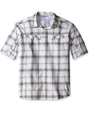 Men's Big-Tall Silver Ridge Plaid Long Sleeve Shirt, Stone/Window Pane, 2XT