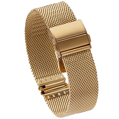 16mm Gold Metal Mesh Watch Band Straps Bracelets High-End Solid Stainless Steel Folded Clasp