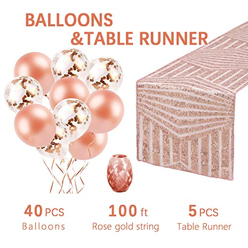 QueenDream Wedding Table Runner 5 Pieces 12x108inch Diamond Sequin Table Runner Rectangle Table Cloth with Confetti and Latex Balloons as Gift for Baby Shower Wedding Christmas Event