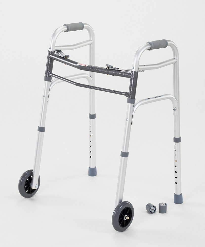 Cardinal Health CWAL0006 Dual Release Walker with Single Wheels in Front, Aluminum, 300 Pound