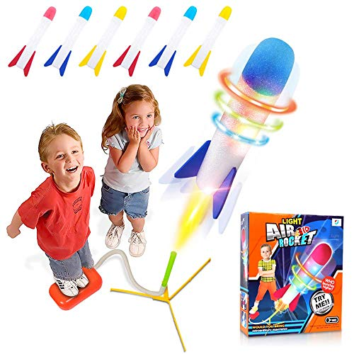 POKONBOY Toy Rocket Launcher for Kids Outdoor Toys, 6 LED Light Foam Rockets and Launcher - Play Rocket Soars Up to 100 Feet Outdoor Rocket Toy Gift for Boys and Girls