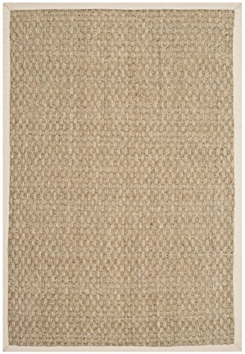 Safavieh Natural Fiber Collection NF114J Basketweave Natural and  Ivory Seagrass Area Rug (2' x 3')