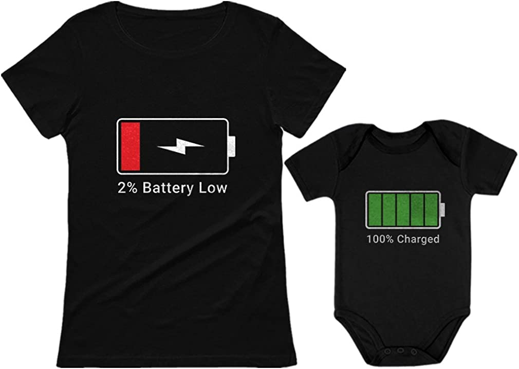 100% Charged & Low Battery Baby Bodysuit & Women's Shirt Funny Mom & Me Set 51-mSU1Ye-L