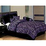Twin 5 Piece Bedding Soft Short Fur Comforter Set Black / Purple Zebra Bed-in-a-bag