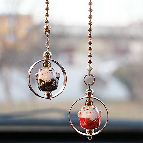 Lucky Cat Car Pendant Chinese Ceramic Car Hanging Ornament Car Interior Decor (Black&Red)