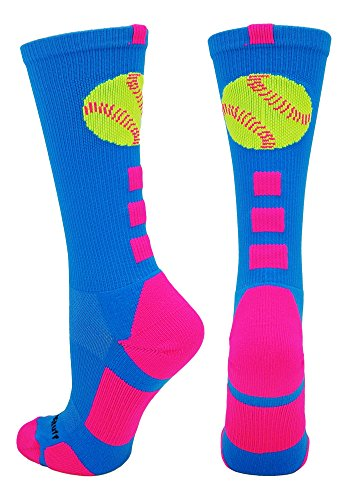 - MadSportsStuff Softball Logo Crew Socks (Electric Blue/Neon Pink, Small)
