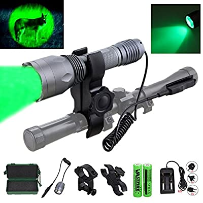 350 yard CREE LED Green Flashlight 1 Mode Hog Coyote Coon Varmints Predator Hunting Light (Green Tactical Flashlight + Dual Control Pressure Switch + 2 X 18650 Batteries + Charger + Rail Scope Mounts)
