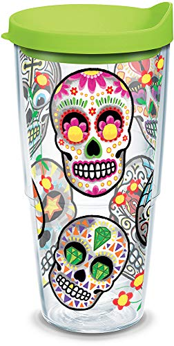 (Tervis 1179857 Sugar Skulls Tumbler with Wrap and Lime Green Lid 24oz,)