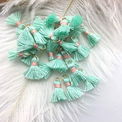 10 x Mini Cotton Tassels Craft Jewellery Bohemian Boho Earring Necklace Bracelet (Colour - #4. Mint Green)