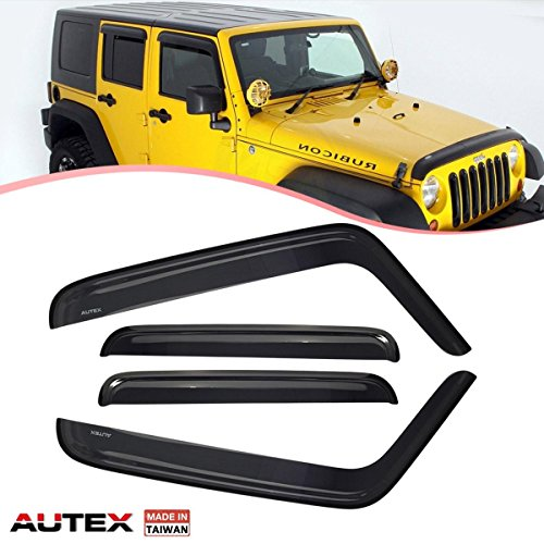 Jeep Window Deflectors - AUTEX Tape On Window Visor Compatible with Jeep Wrangler 2007 2008 2009 2010 2011 2012 2013 2014 2015 2016 2017 4Pcs/Set Window Visor Wind Deflector Guards