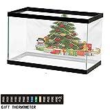 "Aquarium Background,Christmas,Xmas Tree with Vivid Balls and Snowflakes New Year Celebration Theme Art,Red Green Yellow Fish Tank Backdrop 60"" L X 24"" H"