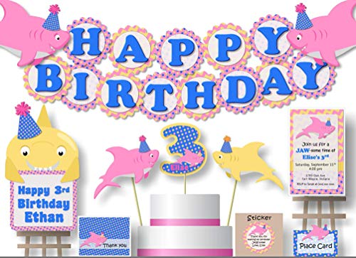 Personalized Pink Girl Baby Shark Birthday Party Decorations or Baby Shower Supplies - Banner with Optional Cake Topper, Centerpiece, Sign, Favor Tags or Stickers, Thanks - Handmade in USA - BCPCustom ()