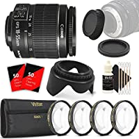 Canon EF-S 18-55mm f/3.5-5.6 Camera Lens + Top Value Bundle for Canon T5 T5i T6 T6i