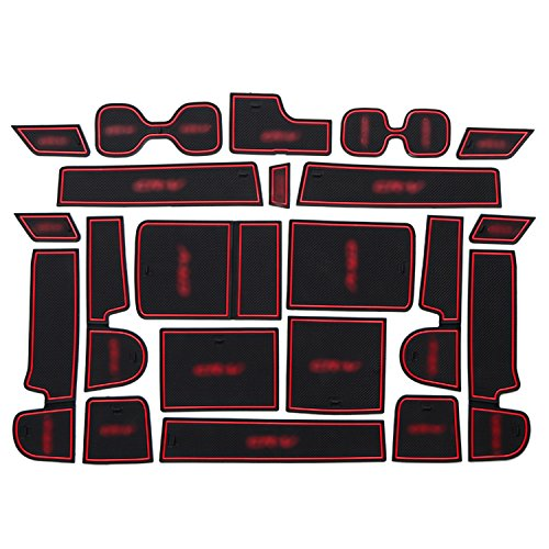 2017 2018 HONDA CRV Car Cushion Non-Slip Gate Slot Pad Cup Mat Car Interior Door Slot Pad Automotive Decoration 21pcs/Set Come with LOGO (Red)