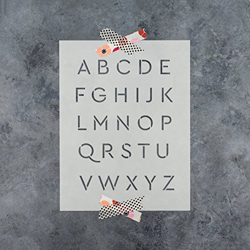 Letter Stencils Kit in Cera Style - Plastic Alphabet Stencil Set - Durable 10 Mil Mylar 1 and 2 Inch Small Sizes (Cera Set)