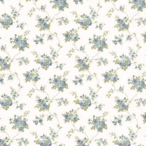 Brewster 487-68846 Isabella Rose Trail Wallpaper, Blue