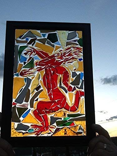 Red devil Stained Glass window art suncatcher