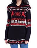 Image of Women Christmas Sweater, V28 Ugly Vintage Turtle Knit Xmas Pullover Long Jumper(Navy M)