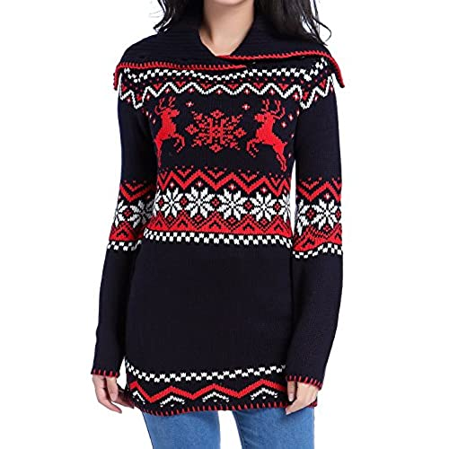 v28 women christmas sweater ugly vintage turtle knit xmas pullover long jumpernavy xl - Vintage Christmas Sweater