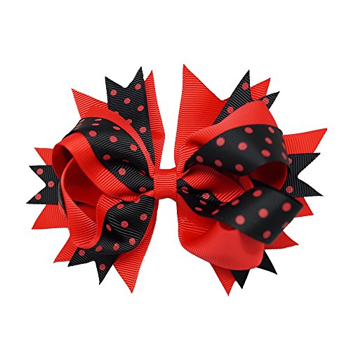 Sports Novelties Hair Bow Clips, Red/Black