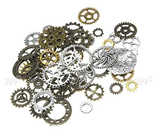 (100g Steampunk Jewellery Watch Parts Altered Art Crafts Cyberpunk Cogs Gears)