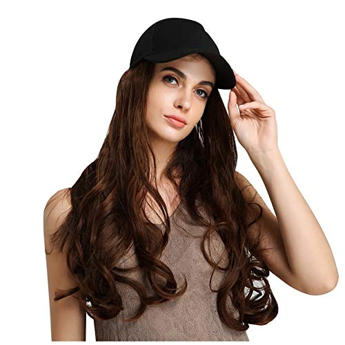 Naiflowers Women Cap Wig, 26 inch Baseball Hat Long Curly Wig Long Wave Hair with Cap, Ball Caps Casual Hat with Wig for Women Girls (Pink)]()