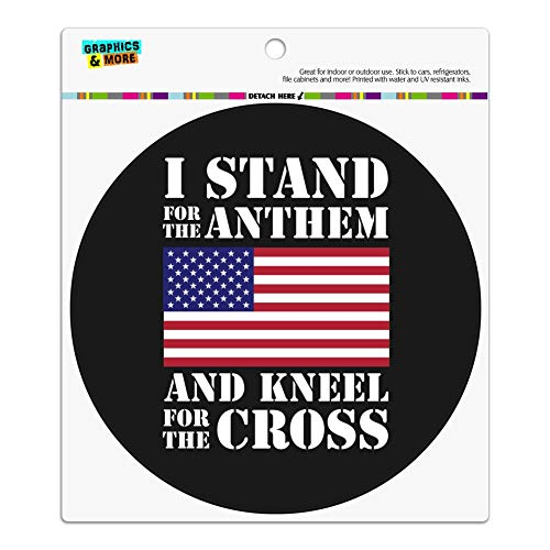 - GRAPHICS & MORE I Stand for The Flag Kneel Cross USA American Flag Patriotic Automotive Car Refrigerator Locker Vinyl Circle Magnet