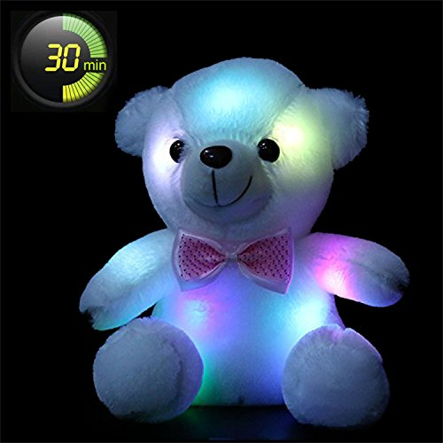 Wewill Luminous Night Light Glow Teddy Bear LED Colorful Stuffed Animals Kids' Xmas Birthday Valentines Gift, White 8-Inch