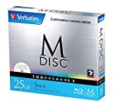 1000 Years Archival Verbatim M-Disc BD-R Inkjet Printable | 25GB 4x Speed | 5 Pack Jewel Case