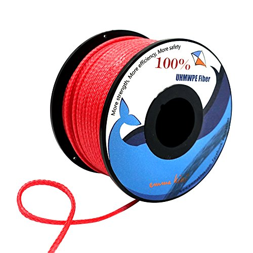 emma kites Red UHMWPE Braided Cord High Strength Least Stretch Tent Tarp Rain Fly Guyline Hammock Ridgeline Suspension for Camping Hiking Backpacking Survival Recreational Marine Outdoors 100Ft 580Lb by emma kites (Image #4)
