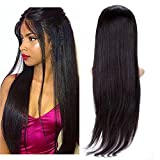BeliHair 18'' Lace Front Wigs Straight Human Hair Brazilian Remy Glueless with Baby Hair for Black Women 130% Density Natural Black …