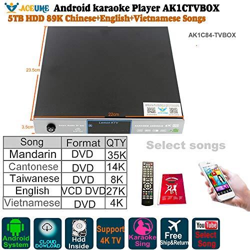 5TB HDD 89K Chinese,English,Vietnamese Songs, Android Karaoke Player,Jukebox,Free Cloud Download,Home KTV Sing,Watch TV, KODI, YOUTUBÊ songs Sing,Songbook,Remote control. ()
