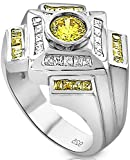 Mens Sterling Silver .925 Designer Ring Featuring a 1.75 Carat White Cubic Zirconia (CZ) Center Stone Surrounded by 36 Clear and Light Canary Baguette (CZ) Stones, Platinum Plated Jewelry